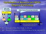 optimization of resources in urpm tempor al partitioning
