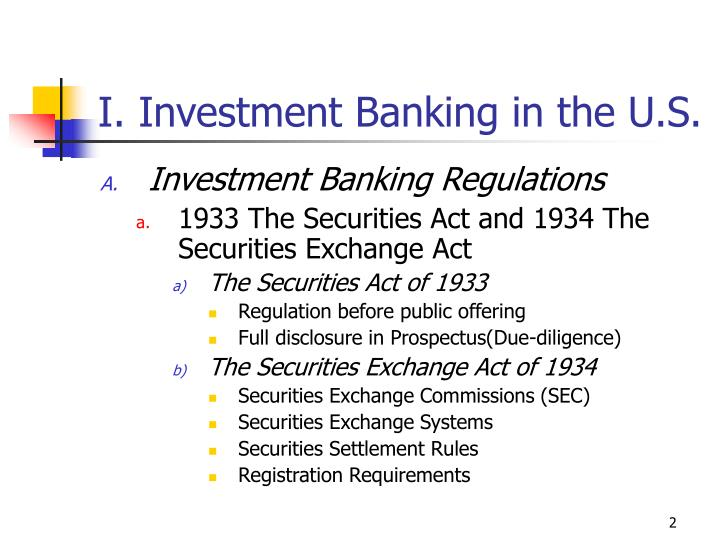 I investment banking in the u s