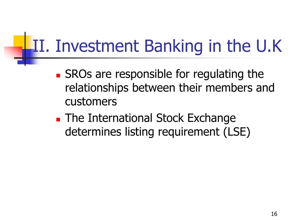 II. Investment Banking in the U.K