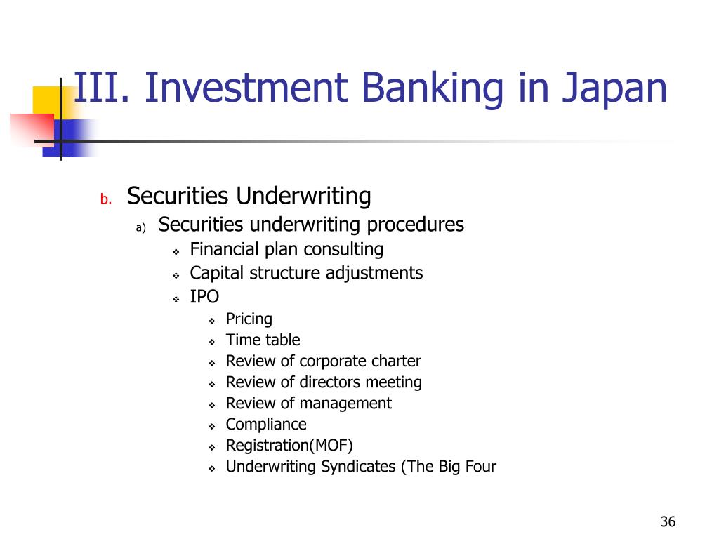 III. Investment Banking in Japan