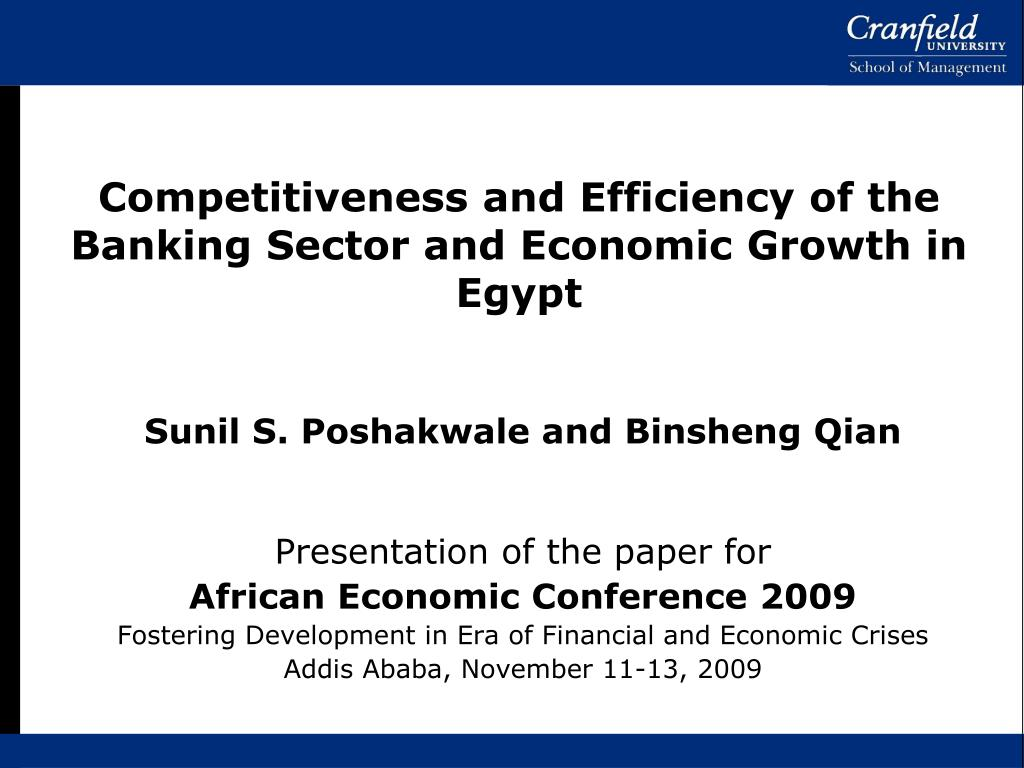 competitiveness and efficiency of the banking sector and economic growth in egypt l.