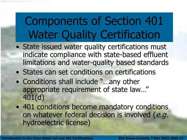 Ppt Introduction To The Clean Water Act And 401 Certifications