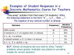 examples of student responses in a discrete mathematics course for teachers