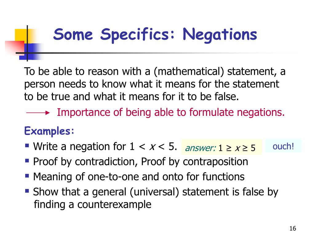 Some Specifics: Negations