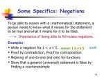 some specifics negations