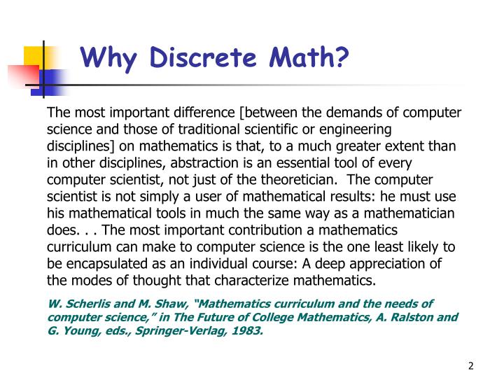 Why discrete math