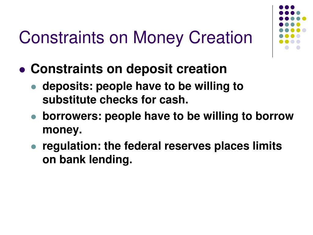 Constraints on Money Creation