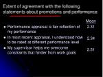 extent of agreement with the following statements about promotions and performance