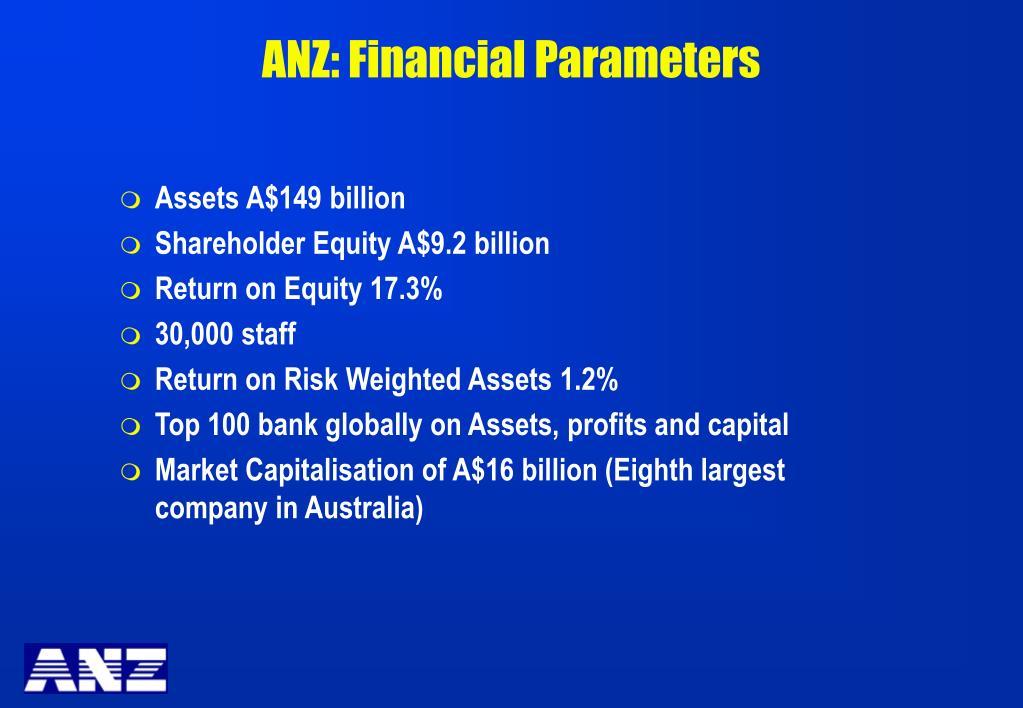 ANZ: Financial Parameters