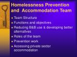 homelessness prevention and accommodation team
