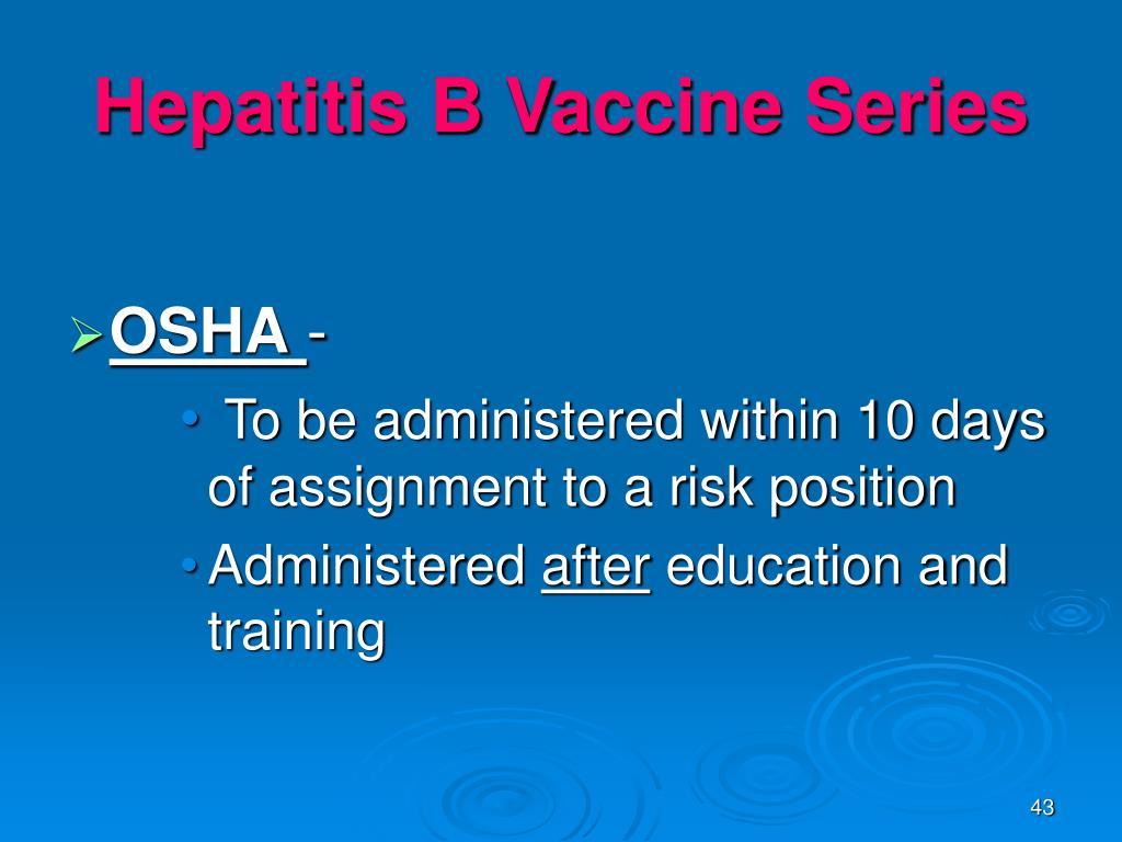 Hepatitis B Vaccine Series