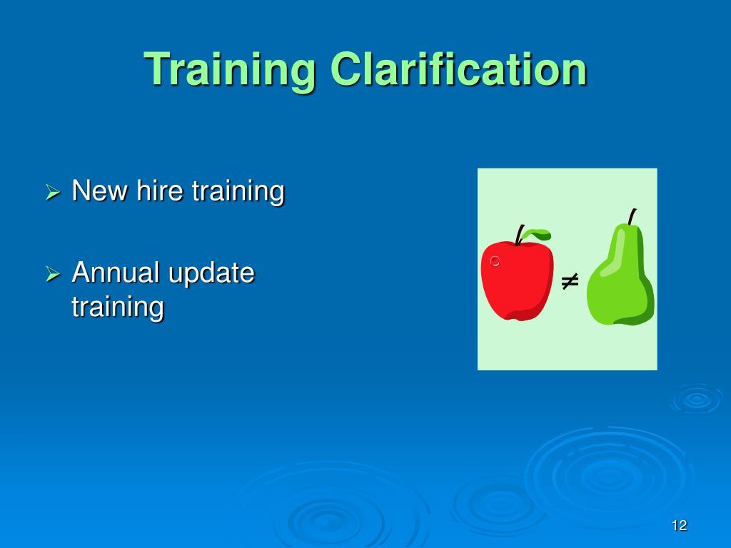 Training Clarification