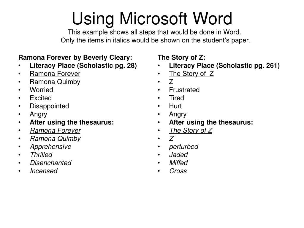 using microsoft word l.