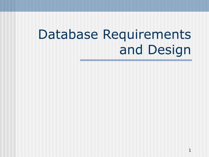 database requirements and design n.