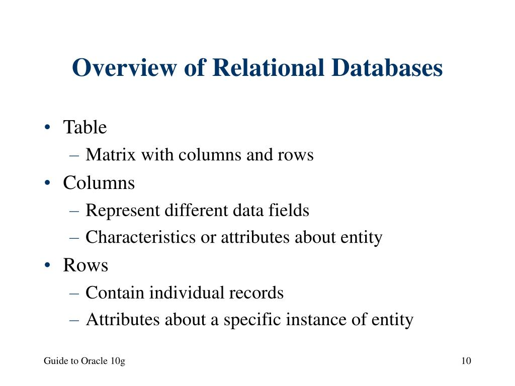 Overview of Relational Databases