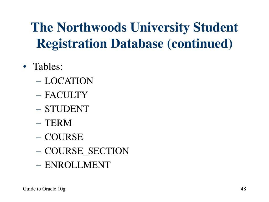 The Northwoods University Student Registration Database (continued)