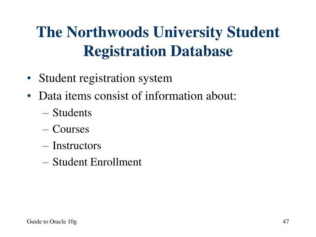 The Northwoods University Student Registration Database