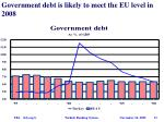 government debt is likely to meet the eu level in 2008