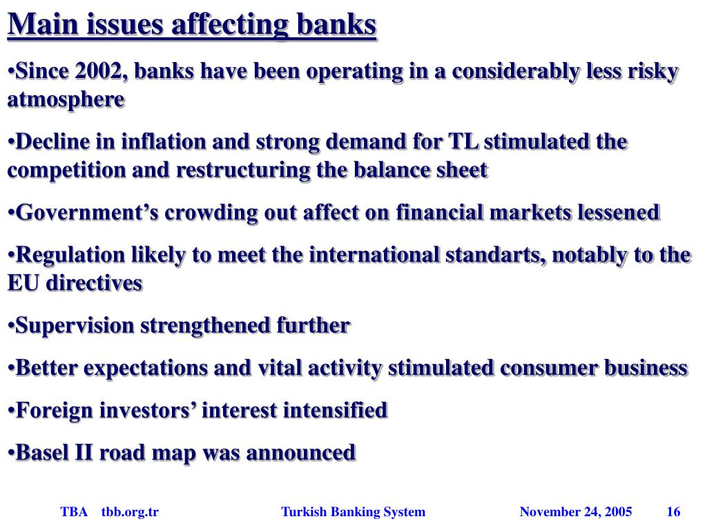 Main issues affecting banks