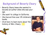background of beverly cleary