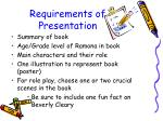requirements of presentation