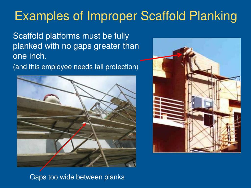 Examples of Improper Scaffold Planking