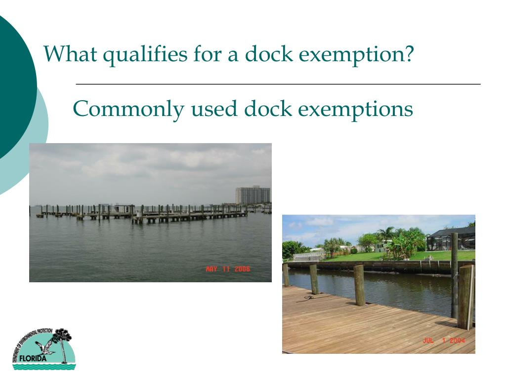 What qualifies for a dock exemption?