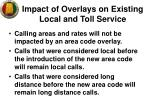 impact of overlays on existing local and toll service