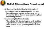 relief alternatives considered