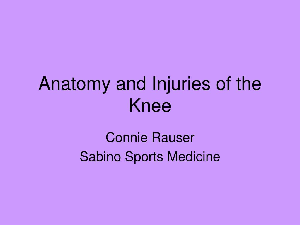 anatomy and injuries of the knee l.