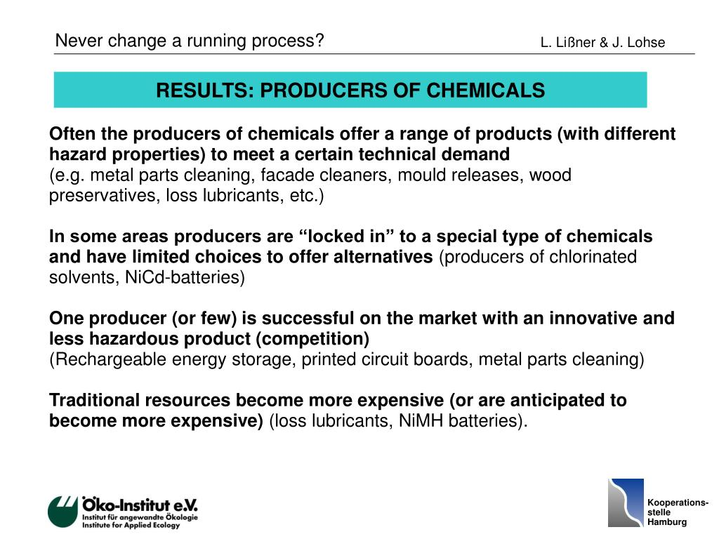 RESULTS: PRODUCERS OF CHEMICALS
