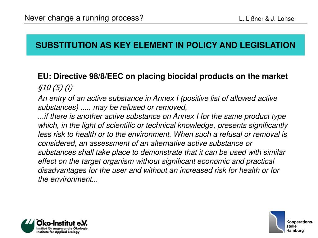 SUBSTITUTION AS KEY ELEMENT IN POLICY AND LEGISLATION