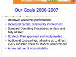our goals 2006 2007