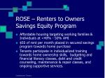 rose renters to owners savings equity program