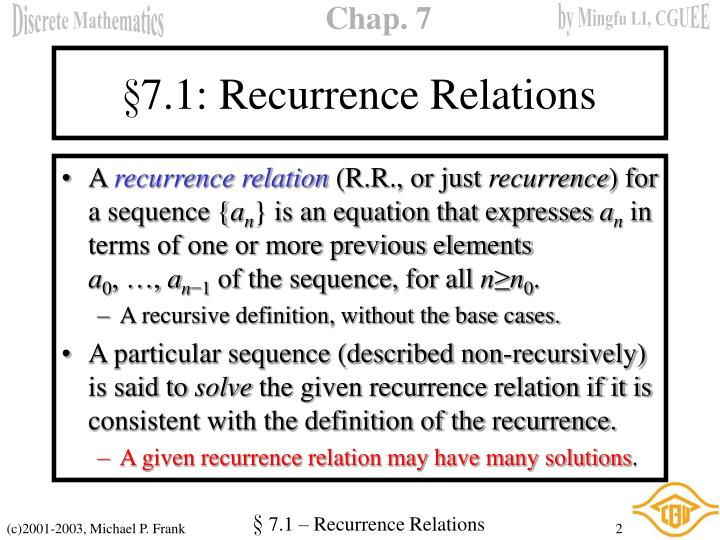 7 1 recurrence relations