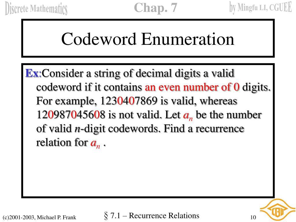 Codeword Enumeration