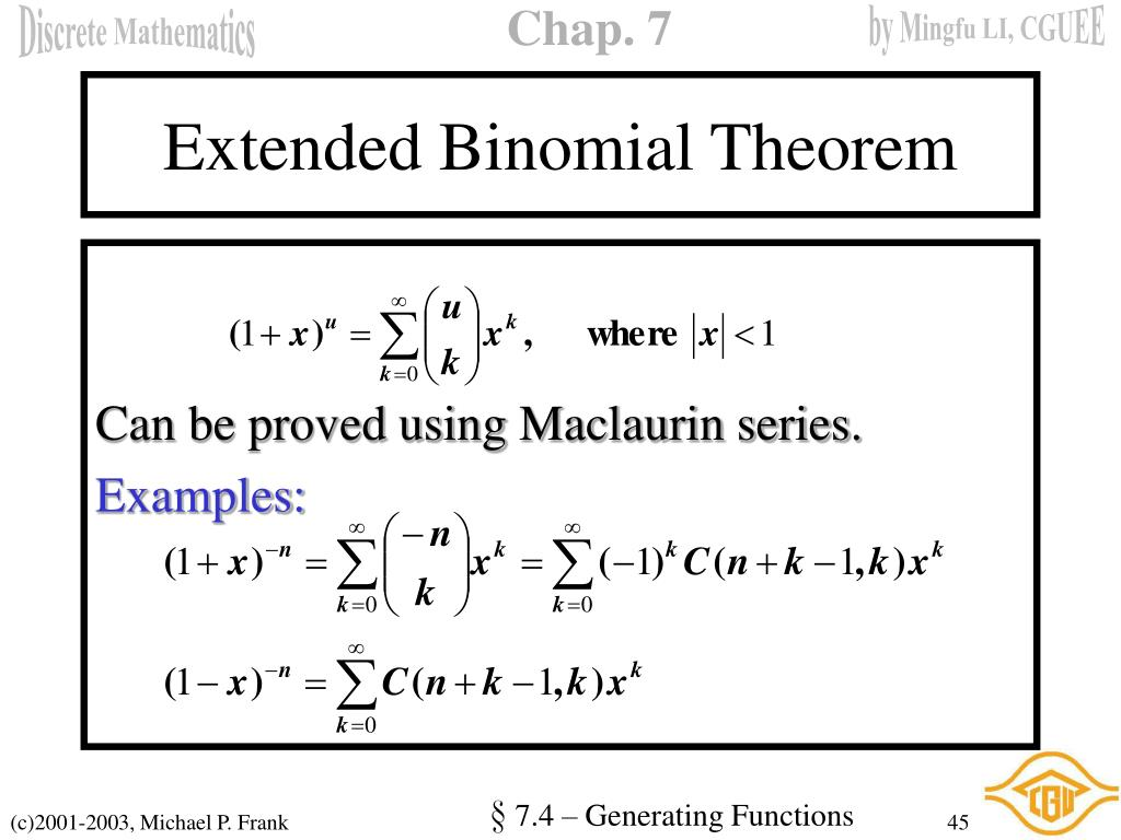 Extended Binomial Theorem