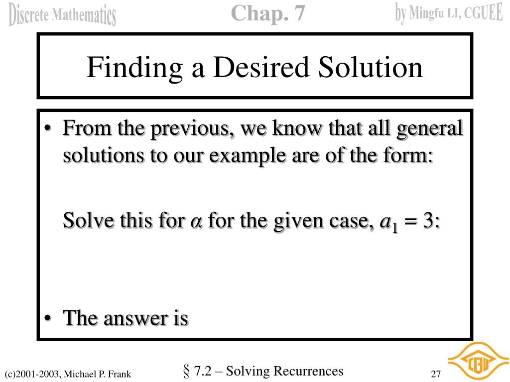 Finding a Desired Solution