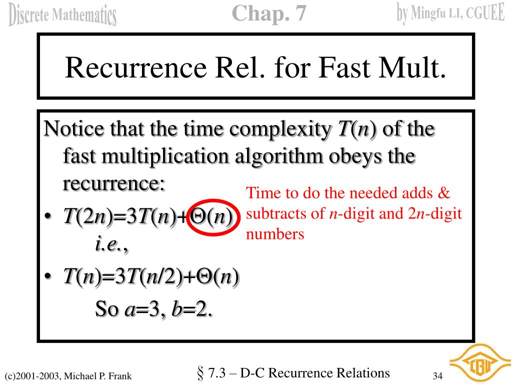 Recurrence Rel. for Fast Mult.