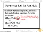 recurrence rel for fast mult