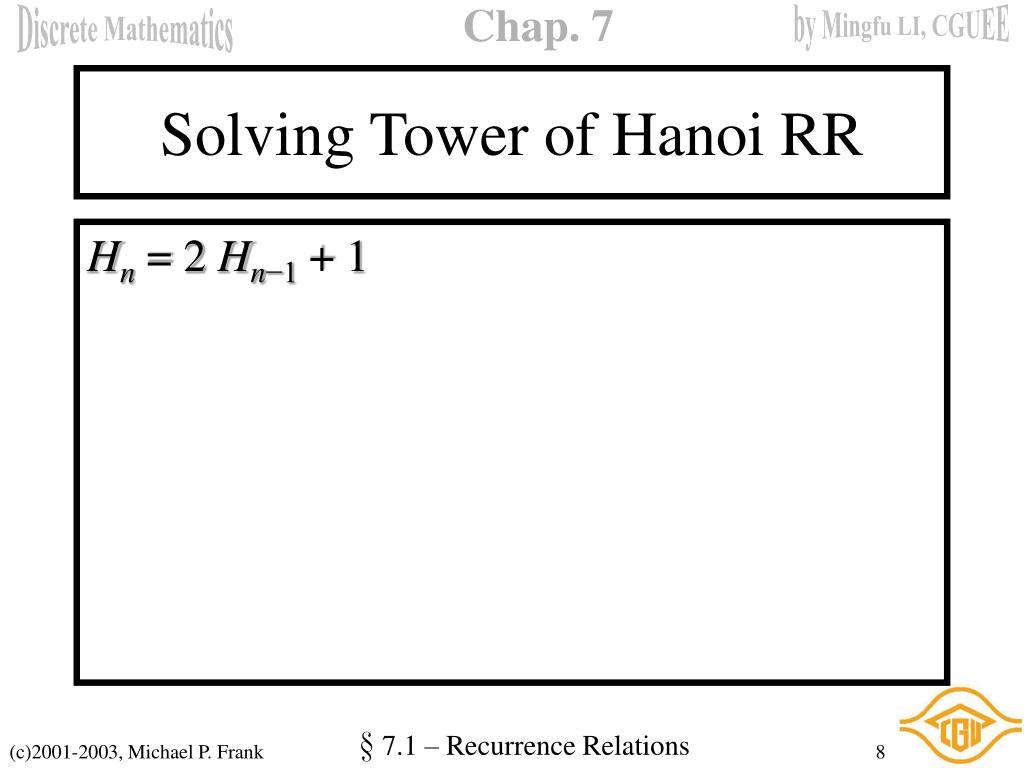 Solving Tower of Hanoi RR