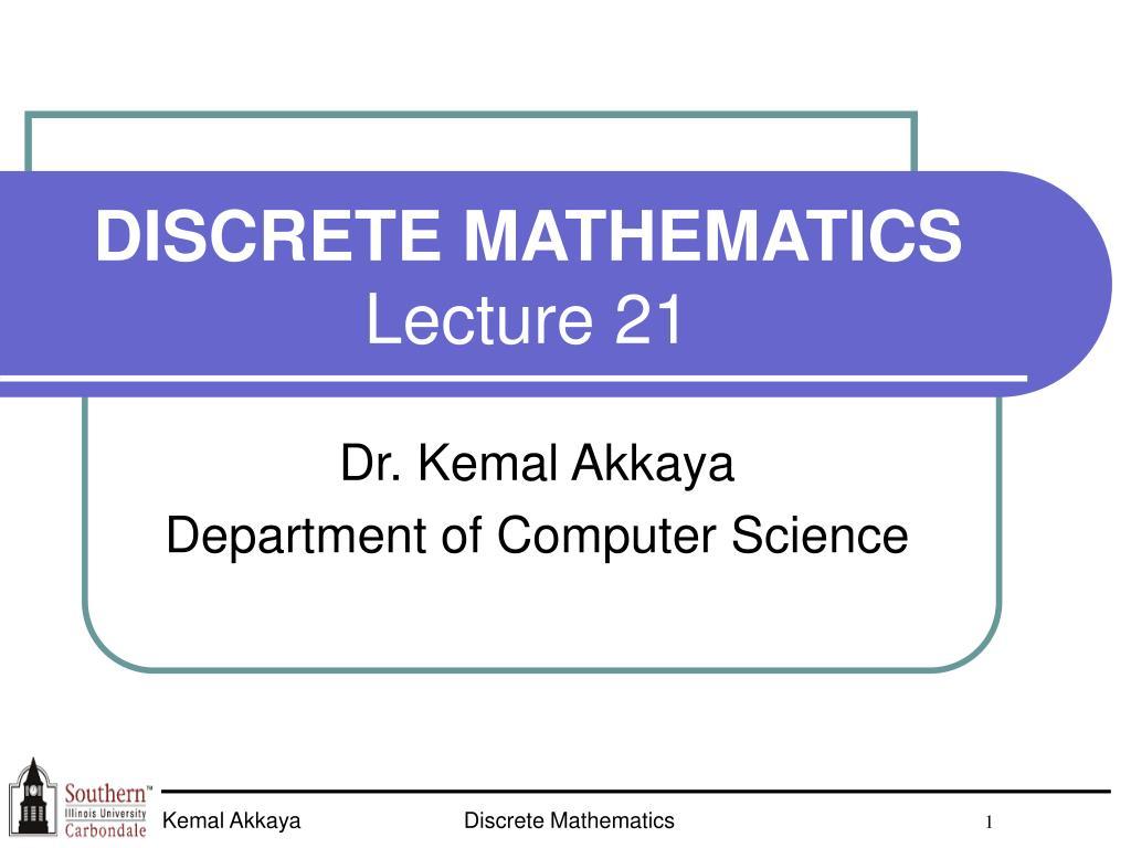 discrete mathematics lecture 21 l.