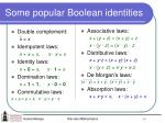some popular boolean identities