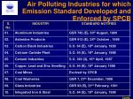 air polluting industries for which emission standard developed and enforced by spcb