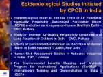 epidemiological studies initiated by cpcb in india