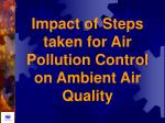 impact of steps taken for air pollution control on ambient air quality