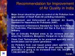 recommendation for improvement of air quality in india
