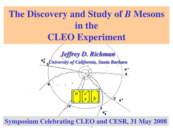 the discovery and study of b mesons in the cleo experiment n.