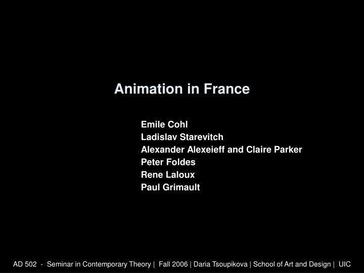 animation in france n.