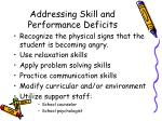 addressing skill and performance deficits